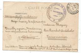 DIEGO SUAREZ MADAGASCAR 15 FEVR 1916 CARTE ANTSIRANE CACHET MILITAIRE BATAILLON COLONIAL DE DIEGO SUAREZ - Madagascar (1889-1960)