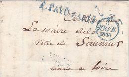 LAC De Paris (75) Pour Saumur (49) - 3 Février 1833 - CAD Rond Type 12 & Dateur A - Marque Linéaire P. PAYE PARIS Bleu - 1801-1848: Precursori XIX