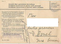 Militäranstallt Luzern Feldpost Certificat Concernant Le Service Actif Accompli - Military Post