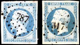 N°14Af + 14Am - Bleu Laiteux + Bleu Laiteux Sur Vert - Cote Y & T 265€ ( 15 + 250 ) TTB - 1853-1860 Napoleon III