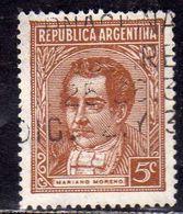 ARGENTINA 1935 1951 MARIANO MORENO CENT. 5c USATO USED OBLITERE' - Argentina