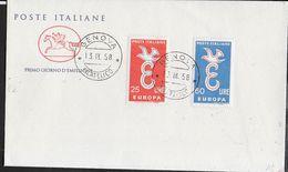 """ITALIA-F.D.C. - SERIE EUROPA 1958 SU BUSTA FDC CAVALLINO - ANNULLO """" GENOVA*13.IX.58*FILATELICO"""" - Europa-CEPT"""
