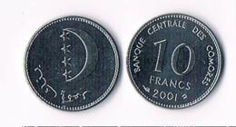 Comoros 10 Franc 2001 - UNC - Komoren