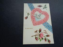 Carte ( 1262 )  Gaufrée  Reliëf   Fantaisie  Fantasie   Coeur  Hart  Oiseau  Vogel - Fantaisies