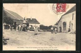 CPA Balesmes, Place De La Fontaine, Rue Des Bordes, Cafè Des Amis - Frankrijk