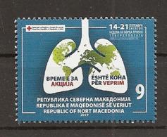 MACEDONIA NORTH,MAZEDONIEN, 2019,Red Cross Tuberculosis TBC Croix Rouge Rotes Kreuz Cruz Roja, Croce Rossa Stamp,MNH - Macedonia