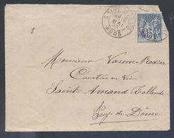 90 Sage Saint Marcel Aude 1894 Type A2 Pour Saint Amand Tallende - Postmark Collection (Covers)