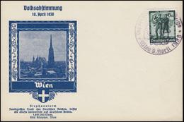 663 Volksabstimmung 6 Pf. Auf Schmuck-Postkarte Stephansturm SSt. WIEN 9.4.1938 - Deutschland
