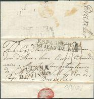 LAC Du Portugal, GriffeVIANNA DOMINHOle 16/3/1828 Vers Bruxelles + GriffeESPAGNE PAR/St-JEAN-DE-LUZet (verso)FRANKR - Portugal