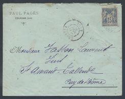 90 Sage Coursan Aude 1900 Type A2 Paul Pagés Pour St Amand Tallende - Postmark Collection (Covers)