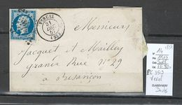 France - Lettre - Yvert 14 - PC3519 - Vercel - Doubs - 1857 - 1849-1876: Période Classique