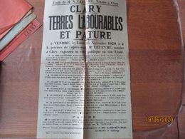 CLARY LE 15 NOVEMBRE 1920 TERRES LABOURABLES ET PATURE A VENDRE Me LEFEVRE NOTAIRE A CLARY 50cm/31cm - Plakate