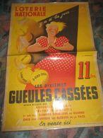 Belle AFFICHE Sur La LOTERIE NATIONALE 60x39,signée L.gadoud-Les Dixiemes Gueules Cassées De 1946,signée L.GADOUD 60x39c - Affiches