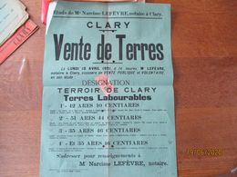 CLARY LE 18 AVRIL 1921 VENTE PUBLIQUE ET VOLONTAIRE DE TERRES Me LEFEVRE NOTAIRE A CLARY 42cm/31cm - Plakate