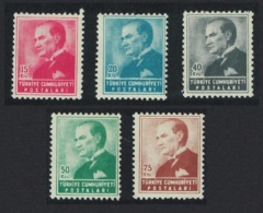 Turkey Kemal Ataturk 5v MNH SG#1551-1555 MI#1410-14 SC#1141-1145 - 1921-... República