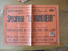 """CULTIVATEURS POUR DETRUIRE RATS,TAUPES..SPECIFIQUE """"LE VAINQUEUR"""" DEPOT REGIONAL M.F.FAREZ QUINCAILLERIE CLARY TIMBRE FI - Plakate"""
