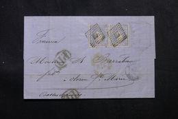ESPAGNE - Lettre Pour La France En 1872, Affranchissement Plaisant En Paire - L 63729 - Cartas