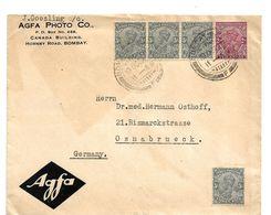 IB004a / BRIT. INDIEN - Georg V 1929 Nach Osnabrück, Deutschland. (AGFA - Niederlassung) - India (...-1947)