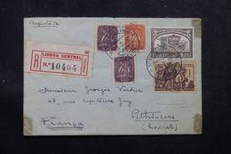 PORTUGAL - Enveloppe En Recommandé De Lisbonne Pour La France En 1952 Avec Vignette Au Dos - L 63740 - 1910-... Republic