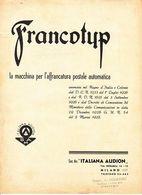 ** FRANCOTUP.- LA MACCHINA PE L' AFFRANCATURA POSTALE.-** - Italia