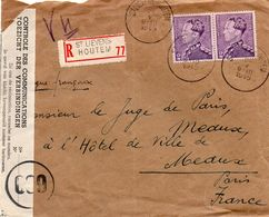 N° 431 (2) Sur Lettre Recommandée De St Lievens Houtem Vers Meaux (France) - Contrôle Des Communications (Défauts) - 1936-1951 Poortman