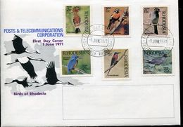 Rhodesia Rodesien Mi# 108-13 Set On Official FDC - Salisbury - Fauna Birds - Rhodesië (1964-1980)