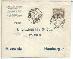 CANARIAS LAS PALMAS CC A ALEMANIA MAT HEXAGONAL CORREO AEREO 1952 - 1931-Heute: 2. Rep. - ... Juan Carlos I