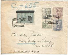 LAS PALMAS 1942 CC CERTIFICADA SELLOS BASICA Y BENEFICO VELAZQUEZ SOBRECARGADO - 1931-Heute: 2. Rep. - ... Juan Carlos I