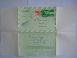 Israel Aerogramme Stationary Entier Postal 1971 0.50 + 0.05 Yam Ha-melah To Century Hotel Antwerp Belgium Cancelled Auto - Aéreo