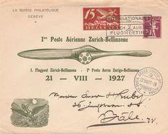 Svizzera,   1° Volo Zurigo - Bellinzone   21 - VIII - 1927 - Eerste Vluchten