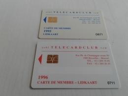 Belgium - 2 Magnetic Membership Cards Telecard Club - Non Classés