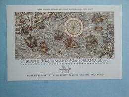 Bateaux 1989 Islande Yv BF10  ** MNH Michel B10 Scott 681  SG 736  Ships  Carte Map - Blocs-feuillets