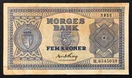 Norvegia Norges Bank 5 Kroner 1951 P#25d P25d LOTTO 1772 - Noorwegen