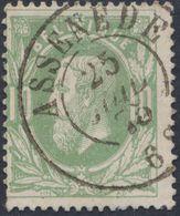 """émission 1869 - N°30 Obl Double Cercle """"Assenede"""", Pli  / Collection Spécialisée. - 1869-1883 Leopold II"""