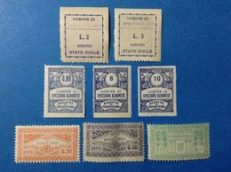 ITALIA LOTTO 8 MARCHE DA BOLLO NUOVE MNH** COMUNALI MUNICIPALI LOCAL MUNICIPAL STEMPELMARKE FISCAUX REVENUE TAX - Revenue Stamps