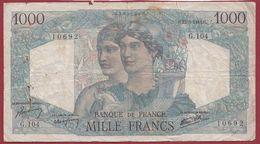 """1000 Francs """"Minerve  Et Hercule """" Du 23/08/1945.H ----ALPHA .G.104... Dans L 'état Voir Scan - 1 000 F 1945-1950 ''Minerve Et Hercule''"""