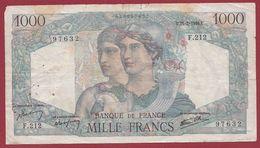 """1000 Francs """"Minerve  Et Hercule """" Du 21/02/1946.U ----ALPHA .F.212. Dans L 'état Voir Scan - 1871-1952 Frühe Francs Des 20. Jh."""