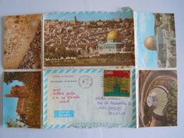 Israel Aerogramme Stationary Entier Postal 1972 Askelon Souvenir Of Jerusalem To Brussel - Aéreo