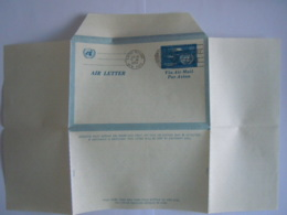 UN UNO United Nations New York Aerogramme Stationary Entier Postal Air Letter 1952 First Day Of Issue - Poste Aérienne