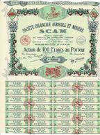 Titre Ancien - Société Coloniale Agricole Et Minière - SCAM -Titre De 1938 - Déco - N° 20909 - Africa