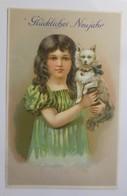 Neujahr, Kinder, Mode, Hund, 1910, Prägekarte ♥ (29564) - Enfants