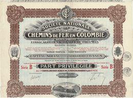 Titre Ancien - Société Nationale De Chemins De Fer En Colombie - Titre De 1923 -Déco - N° 24172 - Railway & Tramway