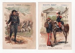Chromo  BISCUITS PERNOT    Lot De 2    Militairers Saint Cyr, Chasseur Alpin, Cheval, Cavalerie     12 X 8.6 Cm - Pernot