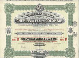 Titre Ancien - Société Nationale De Chemins De Fer En Colombie - Titre De 1924 -Déco - N° 54702 - Chemin De Fer & Tramway