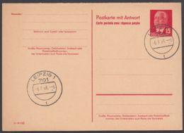 """Mi-Nr. P65a, Kplt. Doppelkarte, Je Stempel """"Leipzig"""", 6.6.66 - [6] República Democrática"""