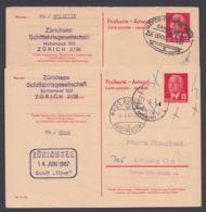 """Mi-Nr. P65A, Schiffspost """"Zürichsee"""", Schiff """"Möwe"""" Und """"Helvetia"""", 2 Versch. Varianten Der Antwort- Karte - [6] República Democrática"""