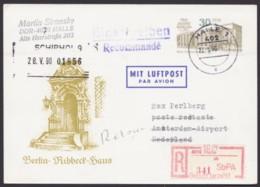 """Mi-Nr. P98, Portoger. R- Luftpost Nach Holland, SbPA- R- Zettel """"Halle"""" - [6] República Democrática"""