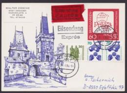 """Mi-Nr. P99, Eilbotenkarte Mit Guter Zusatzfrankatur """"Dresden"""", 31.7.90 - [6] República Democrática"""