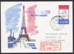 """Mi-Nr. P102, Portoger. R- Karte Mit SbPA-R-Zettel """"Halle"""", 16.9.96 - [6] República Democrática"""