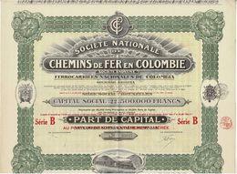 Titre Ancien - Société Nationale De Chemins De Fer En Colombie - Titre De 1925 - Déco - N° 83827 - Railway & Tramway
